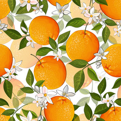 Panel Szklany Owoce Vector seamless pattern with citrus oranges fruit, flowers and green leaves on white background. Bright tropical citrus fruits for wrapping paper, kitchen design. Stock illustration.