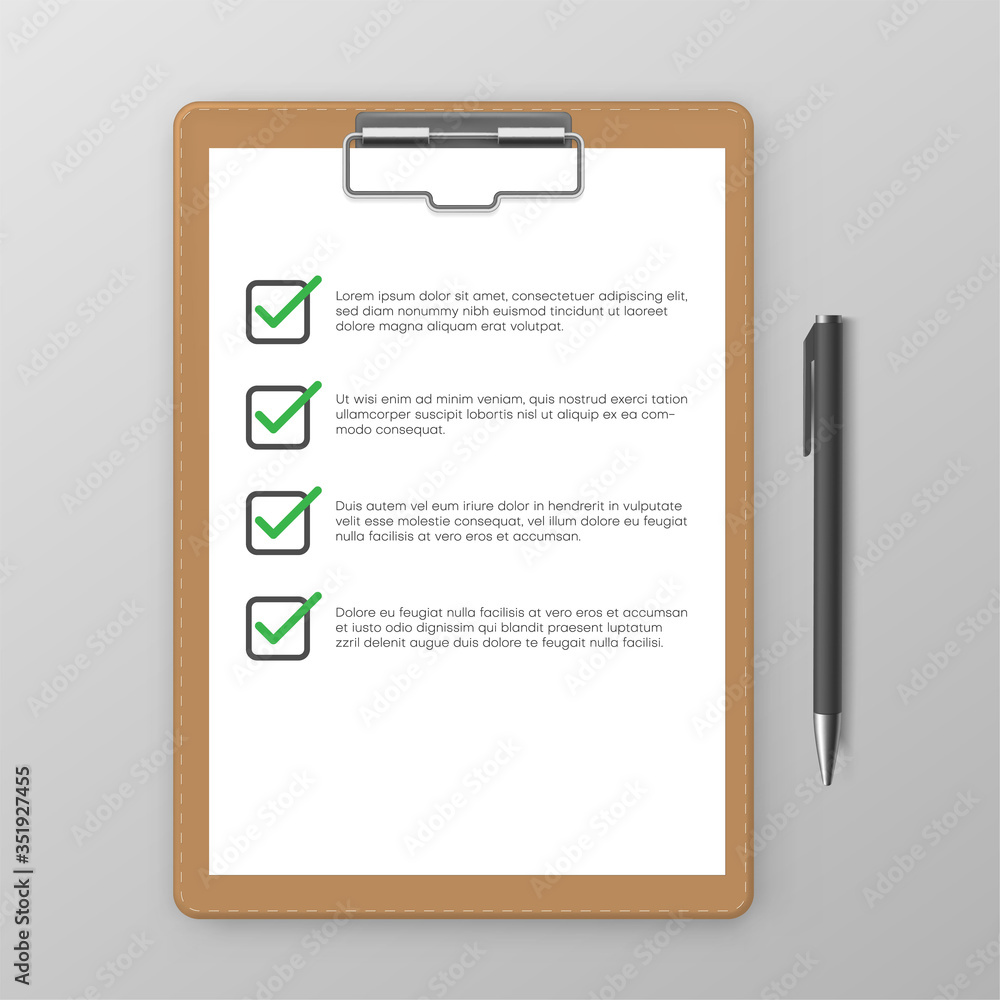 Fototapeta Questionnaire. Check list on clipboard is next to pen in realistic style. Planner with tick marks.