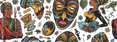 Africa seamless pattern. African woman in traditional turban, maasai warrior,  tribal mask, kalimba, map, drum. Ethnic afro girl and black tribe man. Tradition and culture background. Tattoo art