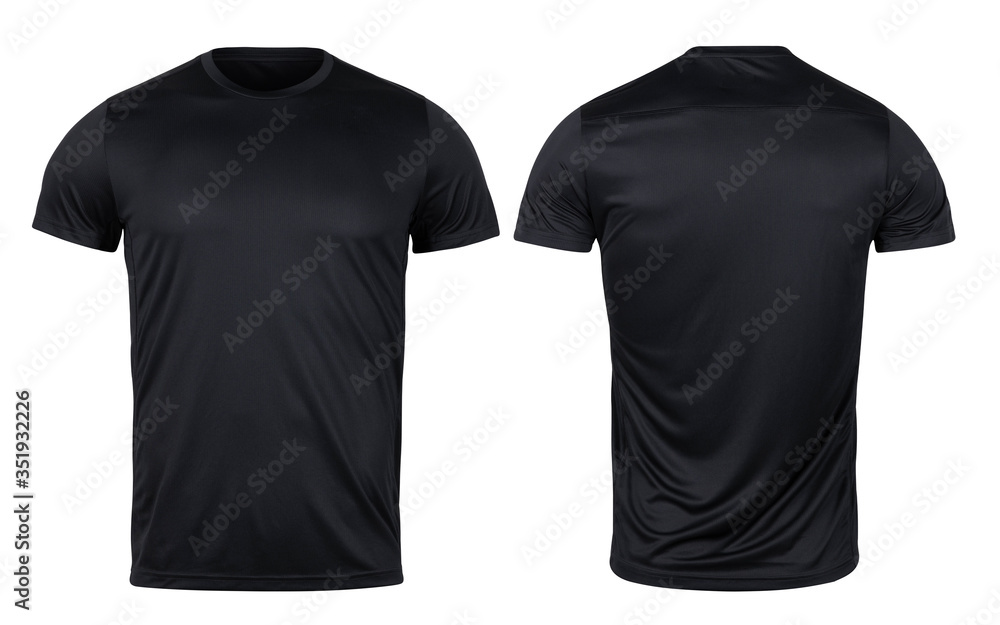 Fototapeta Black sport t-shirt front and back mockup isolated on white background with clipping path.