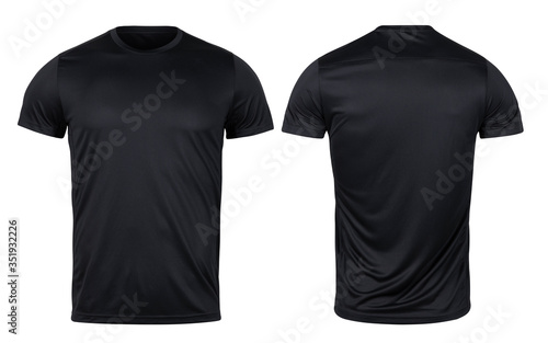 Tela Black sport t-shirt front and back mockup isolated on white background with clipping path