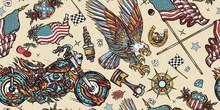 Bikers Pattern. Bearded Biker ...
