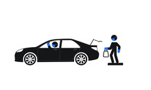 Curb Side Delivery Vector Illustration Of Essential Worker Wearing Mask And Gloves Place Item Into The Trunk Of A Person's Car, With Driver Wearing Mask And Gloves Looking In The Rear-view Mirror.