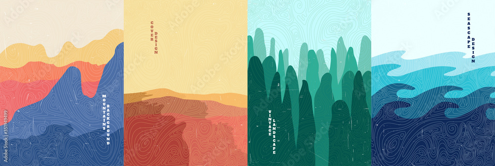 Fototapeta Vector illustration landscape. Wood surface texture. Mountains, desert, forest, sea. Japanese wave pattern. Mountain background. Asian style. Design for poster, book cover, web template, brochure.