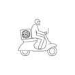 Courier, pizza delivery simple vector icon