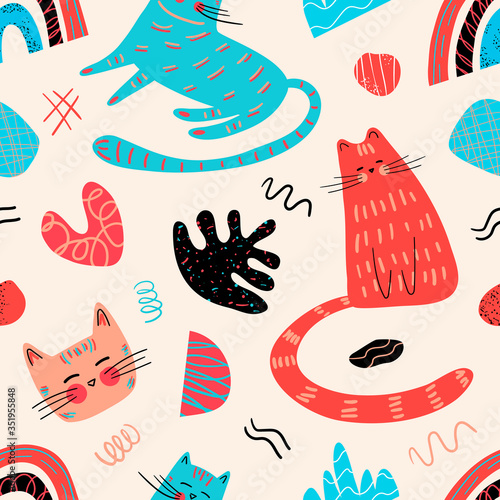 Seamless pattern with cute kittens in Scandinavian style. Modern children's design. Great for fabric, textiles, gifts, postcards, holidays. Vector illustration.