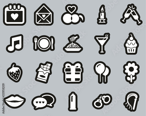 Romantic Or Courting Icons White On Black Sticker Set Big
