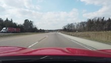 Driving Around Curve With Red Sports Car On Highway Freeway Country Road 002