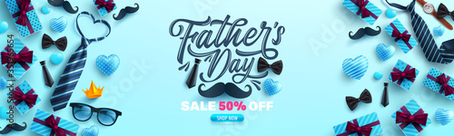 Obraz Father's Day Sale poster or banner template with necktie and gift box on blue background.Greetings and presents for Father's Day in flat lay styling.Promotion and shopping template for love dad - fototapety do salonu