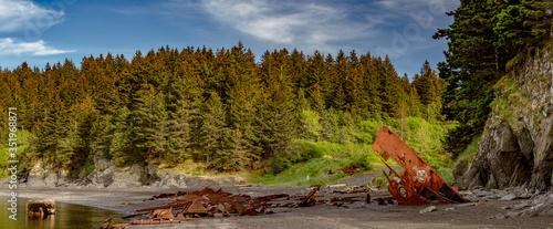 Photo Kodiak, Alaska beach shipwreck - Rusty pirate shipwreck