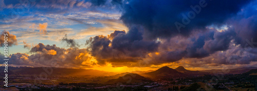 Obraz Panorama of Sunset with Mountains, Clouds  - fototapety do salonu