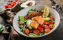 Healthy Salad With Fillet Salm...