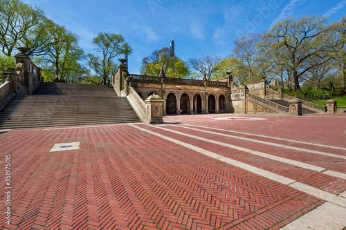 Photo New York City, New York / USA - April 25 2020: Bethesda terrace AKA Navy Terrace