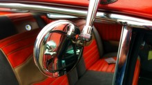 Close-up Of Vintage Car Side Mirror