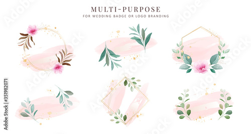 Feminine logo collections, hand drawn modern minimalistic and floral and waterco Fototapet