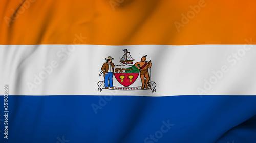 Fototapeta Albany city of New York flag is waving 3D animation