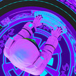 Leinwanddruck Bild - astronaut is typing on a keyboard in a virtual reality scene top view