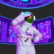 Leinwandbild Motiv astronaut is standing up in a virtual reality scene
