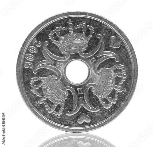 Fototapeta Five Danish krone coin isolated on white background