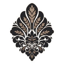 Vector Damask Element. Isolated Damask Central Illistration. Classical Luxury Old Fashioned Damask Ornament, Royal Victorian Texture For Wallpapers, Textile, Wrapping