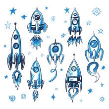Hand Drawn Vector Space Rocket...