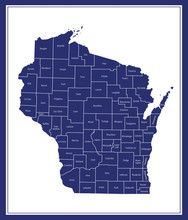 County Map Of Wisconsin USA