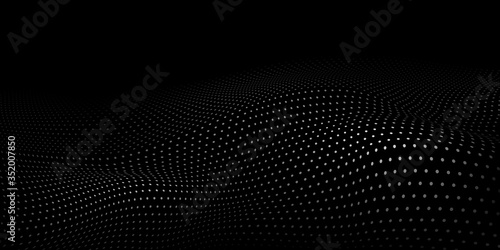 Abstract halftone background with wavy surface made of gray dots on black Wallpaper Mural