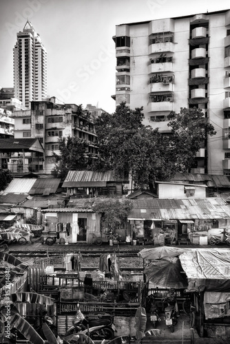 Fototapety, obrazy: High Angle View Of Railway Tracks Along Huts