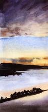 Serene Watercolor Landscape. B...