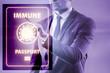 Leinwanddruck Bild - Concept of immunity passport - pressing virtual button