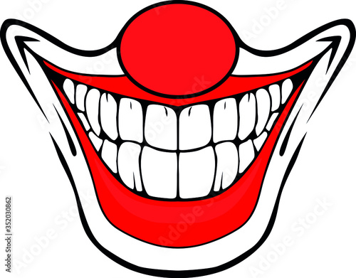Fotografia Evil clown / Creepy clown or horror clown, clown horror smiley face