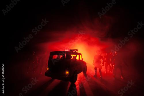 Canvastavla Police cars at night