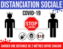 Social Distancing Poster In French  Keeping A Distance Of Six Feet From Others Covid-19 Coronavirus. (Distanciation Social Garder Une Distance De 2 Metres Entre Les Personnes)
