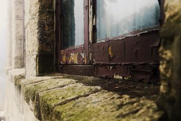 Fototapeta na wymiar Close-up Of Paint Peeling Off From Weathered Window