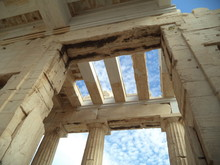 Low Angle View Of Greek Temple Against Sky