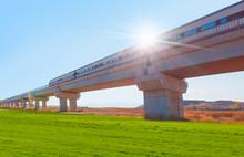 High-speed Train Crossing A Viaduct