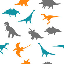 Seamless Color And Wite Dino Pattern