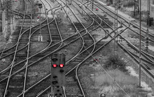 High Angle View Of Railroad Crossing