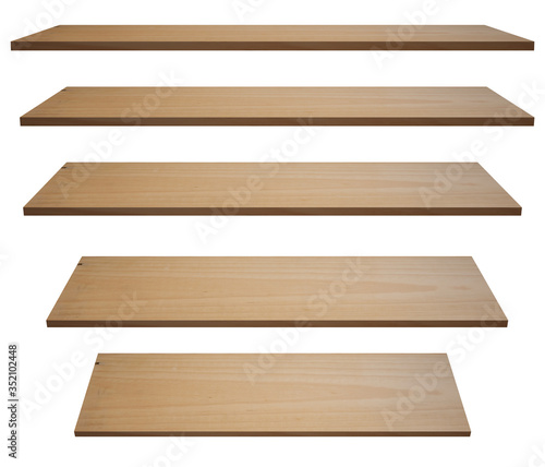 collection of empty wooden shelf isolated onwhite backgrounds with clipping path, for product display Canvas Print