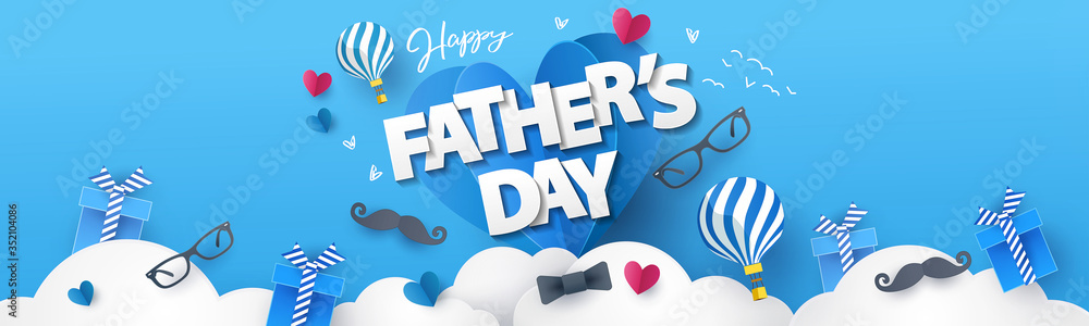 Fototapeta Happy Fathers Day greeting design with origami hearts over clouds, air balloons, gifts, mustache, glasses, bow tie. Holiday illustration for greeting card, banner, social media, promotion and sale
