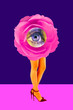 canvas print picture - Rose bud and woman's beautiful legs in acid color tights and high heels shoes on a colorful background. Disco light, surreal art. Funny modern art collage in magazine style, pop art, zine culture.