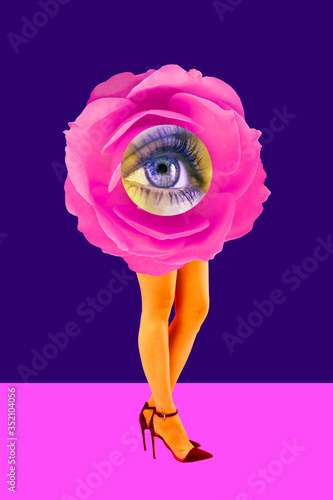 canvas print motiv - Ded Pixto : Rose bud and woman's beautiful legs in acid color tights and high heels shoes on a colorful background. Disco light, surreal art. Funny modern art collage in magazine style, pop art, zine culture.