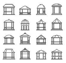 Summer Gazebo Icons Set. Outline Set Of Summer Gazebo Vector Icons For Web Design Isolated On White Background