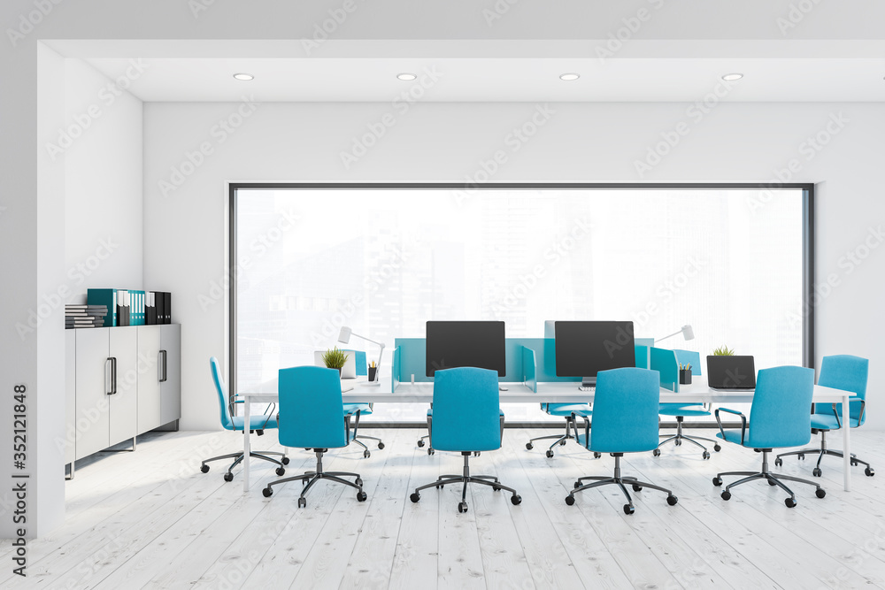 Fototapeta White and blue panoramic open space office