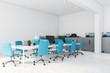 Leinwandbild Motiv White and blue open space office corner
