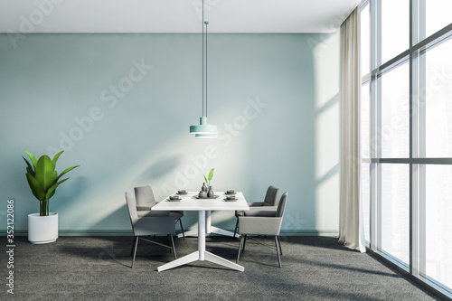 Obraz Panoramic blue dining room with grey chairs - fototapety do salonu