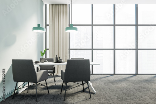 Obraz Panoramic blue dining room interior, grey chairs - fototapety do salonu