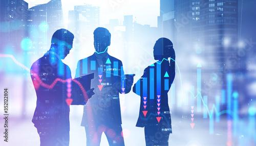 Obraz Business people in office, falling graph - fototapety do salonu