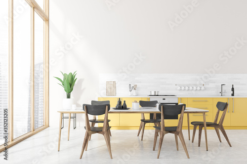 Obraz White kitchen interior, yellow countertops, table - fototapety do salonu
