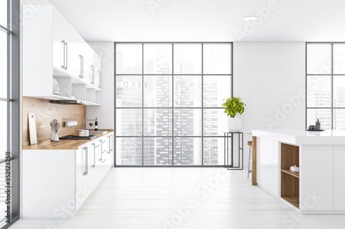 Obraz White and wood kitchen with counters and island - fototapety do salonu